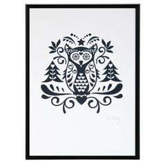 Scandinavian Folk Art Owl limited edition by zedigdesign on Etsy