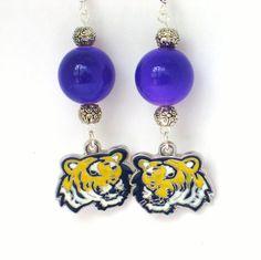 Tiger Earrings, LSU Earrings, LSU Tigers, LSU Tigers Earrings, Tiger Jewelry…