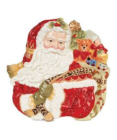 This Fitz and Floyd Damask Holiday Santa Canapé Plate is perfect! #zulilyfinds