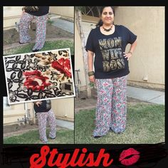 Plus size Palazzo pants Beautiful as pictured with elastic waist . Pls see last pic for measurements details . Also available in 1X-3x. Pants Wide Leg