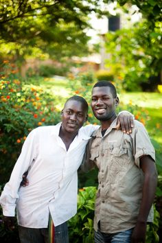 """""""Bukenya (24) and his brother, Caleb (17).  These 2 brothers with different biological dads Bukenya spent 7 years of his youth growing up in an orphanage.  They now dream of helping other orphans in Kampala with the profits they earn from Noonday."""" via Wynne Elder Photography"""