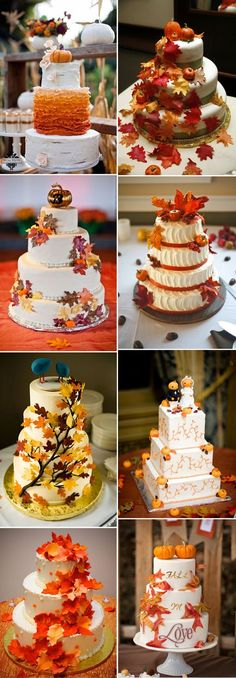fall wedding cakes with pumpkin and maple leaves It is always our first choice to create a wedding cake that reflects the colors and flavors of the season. An autumn wedding offers the perfect opportunity for these seasonal wedding cakes and you will never be wron… See more:http://www.ecinvites.com/32-orange-yellow-fall-wedding-cakes-with-maple-leaves-pumpkins-sunflowers/