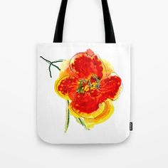 Hand painted flower in orange Tote Bag by wildseadesign Orange Tote Bags, Orange Bag, Quick Dry, White Cotton, Towels, Hand Painted, Hands, Bath, Sun
