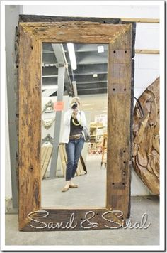 railroad ties mirror Visit & Like our Facebook page! https://www.facebook.com/pages/Rustic-Farmhouse-Decor/636679889706127