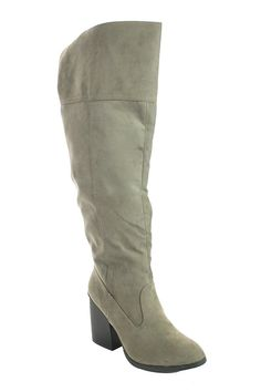 Qupid Womens Faux Suede Knee High Chunky Heel Side Slit Zipper Boot Taupe 7 -- Find out more about the great product at the image link.