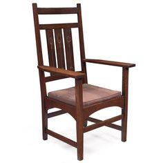 c1905 Arts & Crafts arm chair, Gustav Stickley, Syracuse, NY, dsgn-H Ellis, oak,mtl inlay, 44t, 12-7.  http://www.ebay.com/usr/circa19century