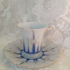 Flower Shaped Demitasse Tea Cup and Saucer Blue Harlequin Hand Painted  Embossed  Espresso Shot Cup Collectible Japan