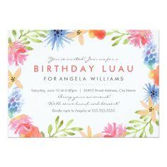 Luau Birthday Party Invitations Paradise Birthday Luau Invite