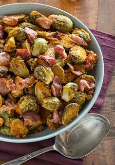 SHAKE 'N BAKE Brussels Sprouts & Bacon -- Brussels sprouts tossed with bacon, Dijon mustard and SHAKE 'N BAKE Chicken Coating Mix make for a mighty tasty side dish recipe.