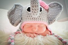 Elephant Earflap Beanie Hat with Pink Flower/Baby Shower Gift/Photography Prop/Halloween Costume. $25.00, via Etsy.