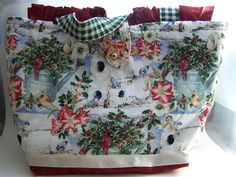BURGUNDY POINSETTIAS CARDINAL CHRISTMAS DOODABA HANDBAG TOTE BAG #Handmade #ShoulderBag
