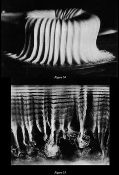 Cymatic phenomena in 3 dimensions. Figure 54 (top): a mass of kaolin paste is vibrated by sound waves. Figure 55 (bottom): sound waves cause patterning in gaseous media. By Hans Jenny, from his experiments during the 1960s.