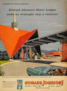 Howard Johnson Motor Lodge, 1960s. Another example of striking roadside architecture we'll probably never be lucky enough to see again. We spent our wedding night at a Howard Johnson's fifty years ago.