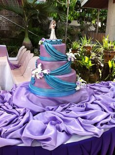 wedding cake, purple blue wedding cake, beautiful cake, cake topper ...