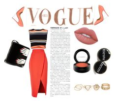 """""""Peachy sunday"""" by dzeneta25 ❤ liked on Polyvore featuring Christian Louboutin, Ted Baker, C/MEO COLLECTIVE, Lulu Guinness, Lime Crime and MAC Cosmetics"""