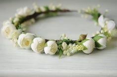 Corona de flores blanca y verde. por TheLittleNemo en Etsy