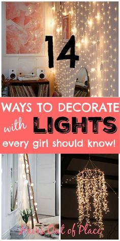 14 ways to decorate with lights in bedroom every girl should know! DIY lights ideas that include hanging lights, wall lights, ladder lights, lights over your bed and more! decor diy hanging lights 16 Ways to Light Up Your Life - Hairs Out of Place Deco Led, Diy Lampe, Hanging Christmas Lights, Christmas Lights Bedroom, Christmas Ideas, Christmas Decorations, Vintage Industrial Lighting, Bedroom Lighting, Hanging Lights Bedroom