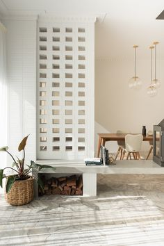 Office Interior Design, Interior Walls, Interior Modern, Interior Decorating, Concrete Block Walls, Cinder Block Walls, Concrete Bench, Breeze Block Wall, Minimal House Design