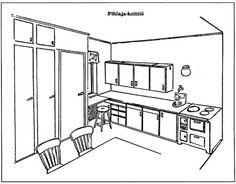 Työtehomessuilla 1948 esiteltiin ihannekeittiö, jossa oli kuivauskaappi, tiskialtaat, kuuma ja kylmä juokseva vesi, sähköhella, pyörivä kulmakaappi kattiloille, pyyhekaappi sekä korkea keittiöjakkara. Kiinteät keittiökaapistot yleistyivät vauhdilla 40-luvulta lähtien. 50s Style Kitchens, Ikea Ps 2014, Kitchen Styling, Floor Plans, House, Furniture, Kitchen Ideas, Home Decor, Recipes