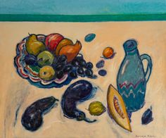 Original wall art on canvas with summer still life with eggplants and fruits. #svetlana_kurmaz #art #artist #womanartist #painting #canvas #stilllife #vase #white #blue #fruits #eggplants #summer