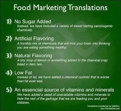 Food Marketing Translations - be a SAVVY shopper - read between those lines!