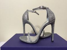 Stuart Weitzman Nudist Silver Noir Women's Fashion Heels Sandals Size 4.5 M #StuartWeitzman #FashionEveningHeelsSandals