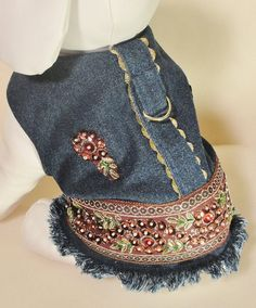 Denim Dog Harnes Dress Blue Denim Bling beads by ChicCanineCouture, $65.00