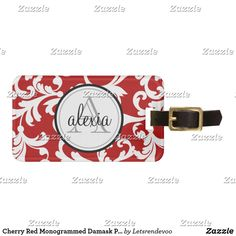 Shop Cherry Red Monogrammed Damask Print Luggage Tag created by Letsrendevoo. Personalized Luggage Tags, Custom Luggage Tags, Best Travel Gifts, Luggage Straps, Standard Business Card Size, Leather Luggage, Cherry Red, Travel Accessories, Travel Style