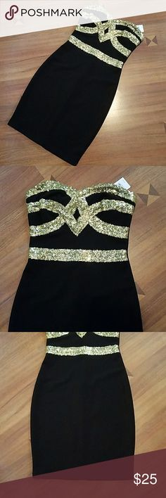 Charlotte Russel bodycon sequin dress Black bodycon dress with gold sequins Charlotte Russe Dresses Strapless