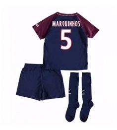 PSG Marquinhos 5 Hemmaställ Barn 17-18 Kortärmad Psg, Neymar, Messi, Paris Saint, Saint Germain, Ronaldo, Saints, Fashion, Moda