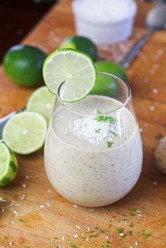 lime ginger coconut smoothee:  ½ ripe avocado, diced  45g fresh ginger, chopped (no need to peel it, really!)  The juice and zest of 1 lime (make sure it's good and juicy)  ¼ cup fat free Greek yogurt  1 cup coconut milk or coconut water  3-4 tbsp vanilla flavored whey protein  1 tbsp flax seed meal  1-2 tbsp unsweetened shredded coconut  1 tsp date paste  ½ tsp pure vanilla extract