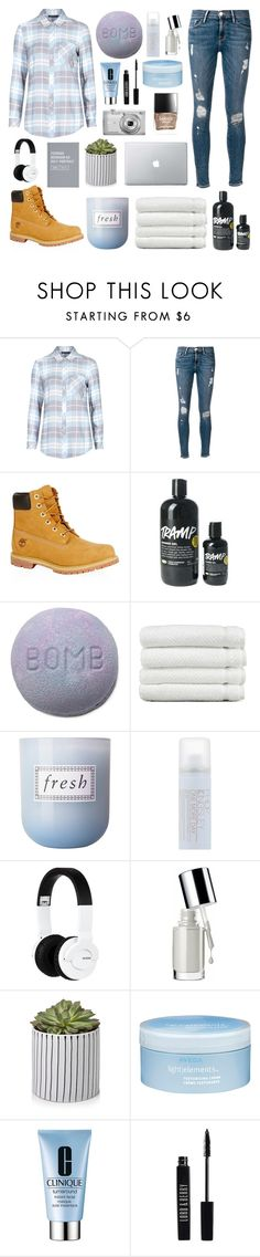 """""""It takes more than this to keep me down"""" by mintfaerie ❤ liked on Polyvore featuring M&S Collection, Frame Denim, Timberland, Linum Home Textiles, Fresh, Philip Kingsley, Nixon, Clinique, Nikon and Aveda"""