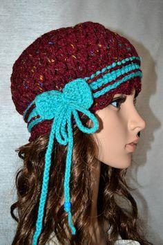 Crochet Women,Teen  Hippie Gypsy Hat Bow Tie. I LOVE this!!