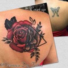 Before and after of My cover up tattoo by Veronica Dey