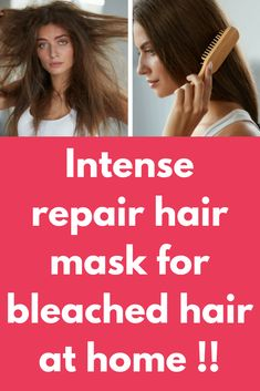 Intense repair hair mask for bleached hair at home ! Bleaching your hair is the most damaging things you can do to your hair as it makes your hair dry, frizzy and unmanageable. Damaged Hair Repair Diy, Damaged Hair Remedies, Bleach Damaged Hair, Bleached Hair Repair, Bleaching Your Hair, Treatment For Bleached Hair, Dry Hair Treatment, Hair Treatments, Hair