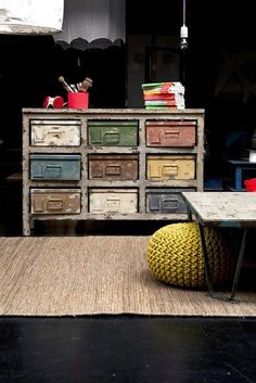 Distressed dresser case with metal box drawers