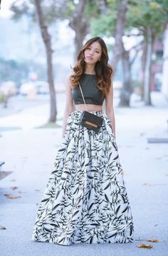 Crop Top And Maxi Skirt 2017 Street Style