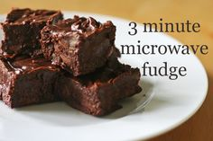 3 minute microwave homemade fudge -- this is going on the top of my (very) short list of things I have to try.