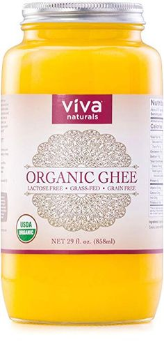Viva Naturals Organic Ghee 29 oz - from Grass-Fed Cows, Non-GMO, and Certified Paleo Diet Friendly - The top trends to try in 2019 Organic Ghee, Organic Coconut Oil, Keto Food List, Paleo Diet, Keto Approved Foods, Grass Fed Ghee, Coconut Flour Pancakes, Better Butter, High Fat Foods