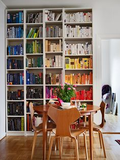 lovely chairs...and I really must arrange my books by colour!