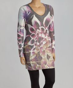 Loving this Purple Bloom Long-Sleeve V-Neck Top - Plus on #zulily! #zulilyfinds
