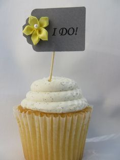 Wedding Cupcake Topper I Do Yellow and Grey by thefavorstation