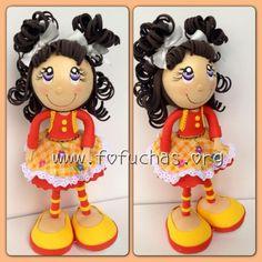 Little gal doll w/violet eyes...so pretty...made from fun foam...follow photo
