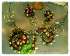 Handmade floral Jewelry Set HAWAII A  Trendy by CamelysUnikatBijou