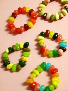 Jelly Bean Bracelets --- so cute! give 'em to kids during sacrament meeting, maybe keep them quiet for a bit....
