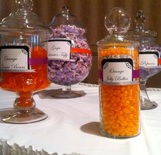 Orange and Purple Candy Buffet. Michigan Weddings.