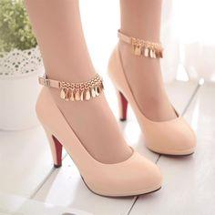 women pumps heels beige black red 34 43 new waterproof shoes with a single thin-. Fancy Shoes, Pretty Shoes, Cute Shoes, Stilettos, Pumps Heels, High Heels, Black Heels, Mode Adidas, Kawaii Shoes