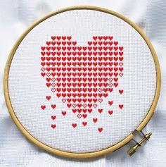 Cuenta el punto de cruz patrón, descarga inmediata, envío gratis, PDF de punto de Cruz, corazón moderno, día de San Valentín
