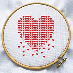 Counted cross stitch pattern, Instant Download, Free shipping, Cross-Stitch PDF, Modern heart, Valentine's Day