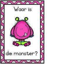 oulike kleurvolle flitskaarte met voorsetsels vir die Grondslagfase. Afrikaans. Monster School, All Schools, Afrikaans, Poster On, Early Childhood, Teaching Ideas, Classroom Ideas, Teacher, Printable